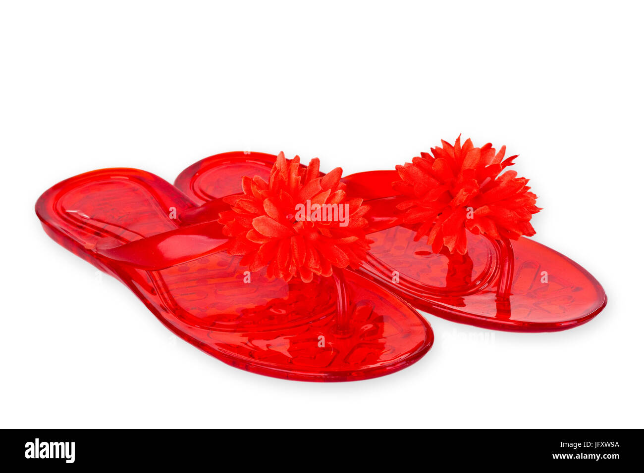 bfc579a32079 Red Flip Flops with Flower isolated on white background Stock Photo ...