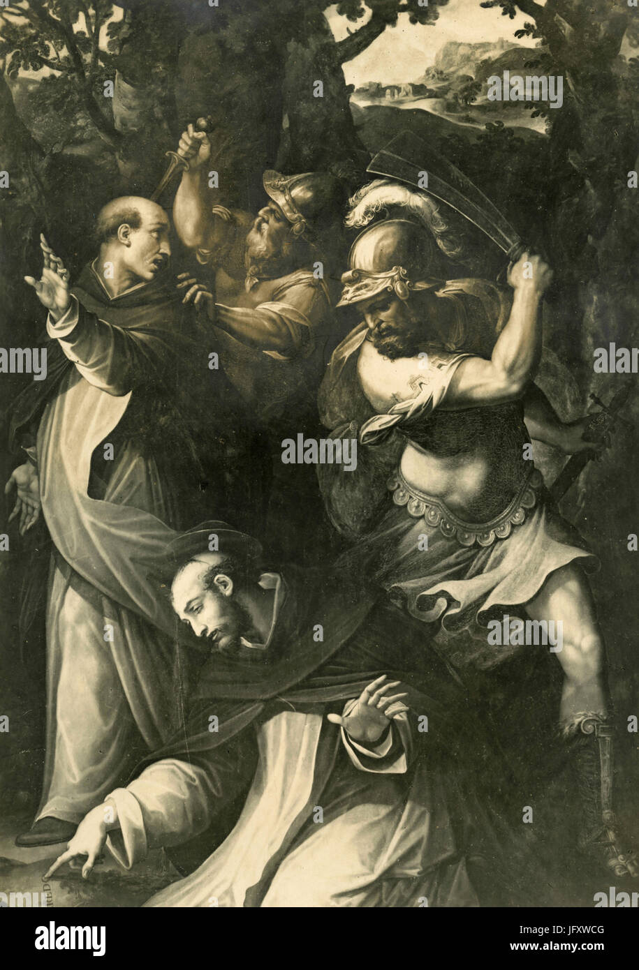The Murder of St. Peter Martyr, painting by Giorgio Vasari - Stock Image