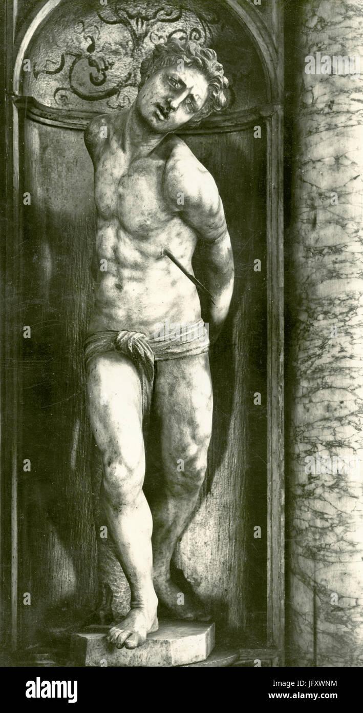 Saint Sebastian, marble by S. Mosca, Venice, Italy - Stock Image
