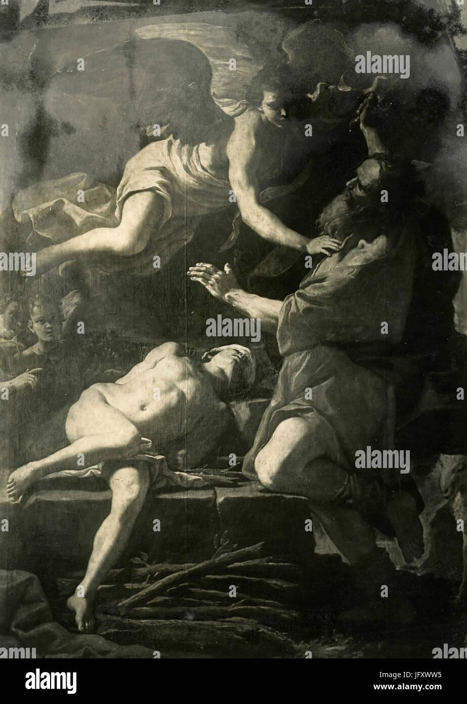 The sacrifice of Isaac, painting by Mattia Preti, Bologna, Italy - Stock Image