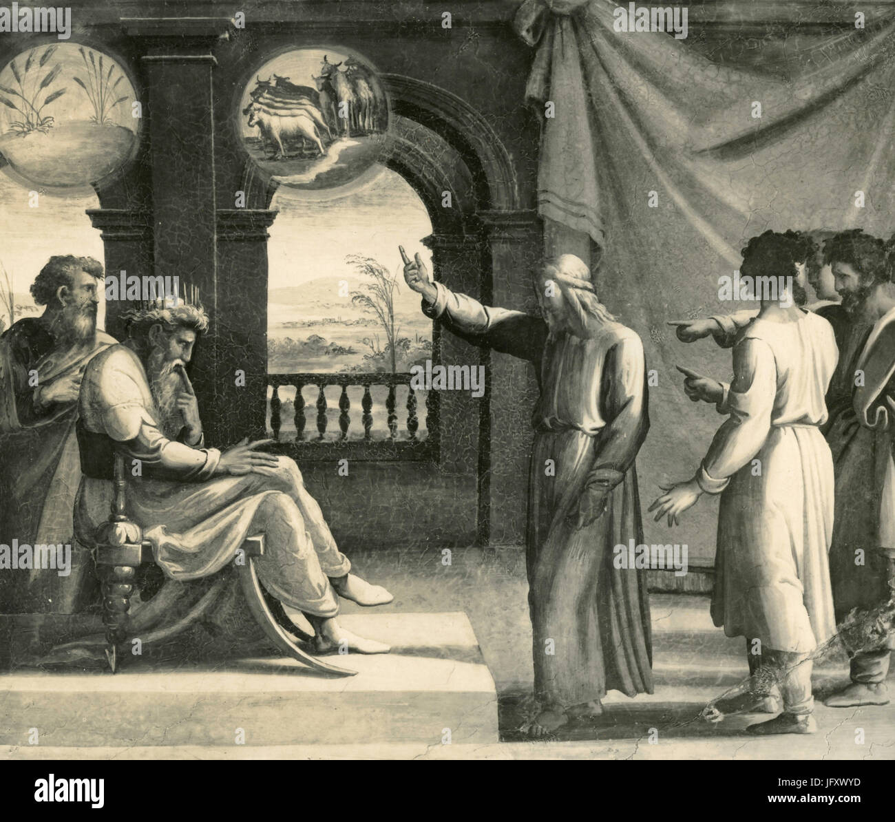 Joseph interprets pharaoh's dreams, frescoes on Logge of Raphael, Vatican City - Stock Image
