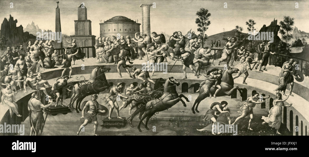 The Abduction of the Sabine Women, painting by Bartolomeo di Giovanni, Rome, Italy - Stock Image
