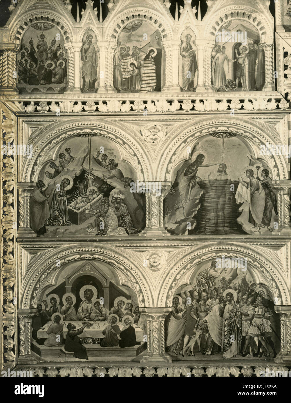 Polyptych by Stefano da Sant'Agnese, Accademia 21, Venice, Italy - Stock Image