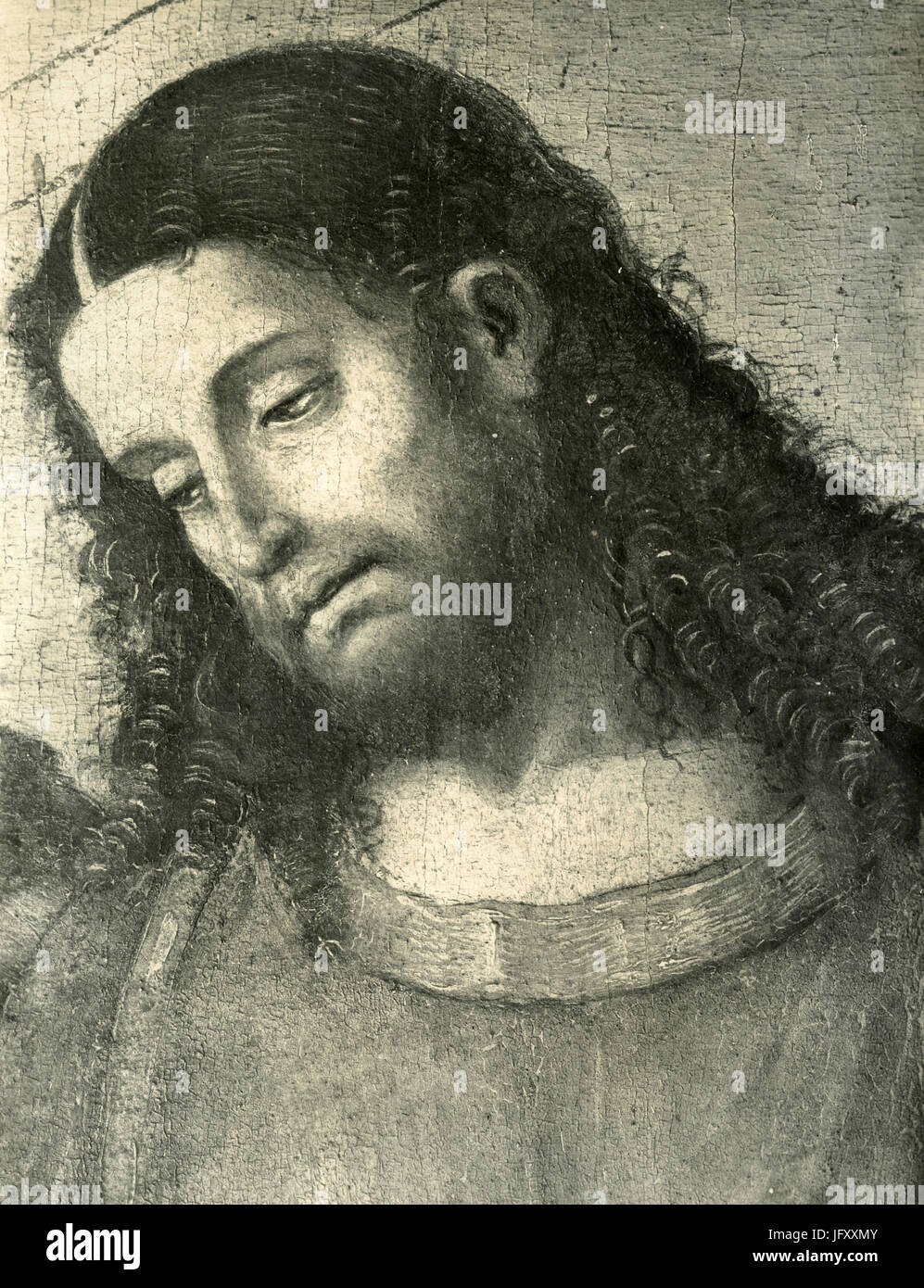 The head of Jesus Christ, painting detail of the Institution of Eucharist, by Luca Signorelli, Cortona, Italy - Stock Image