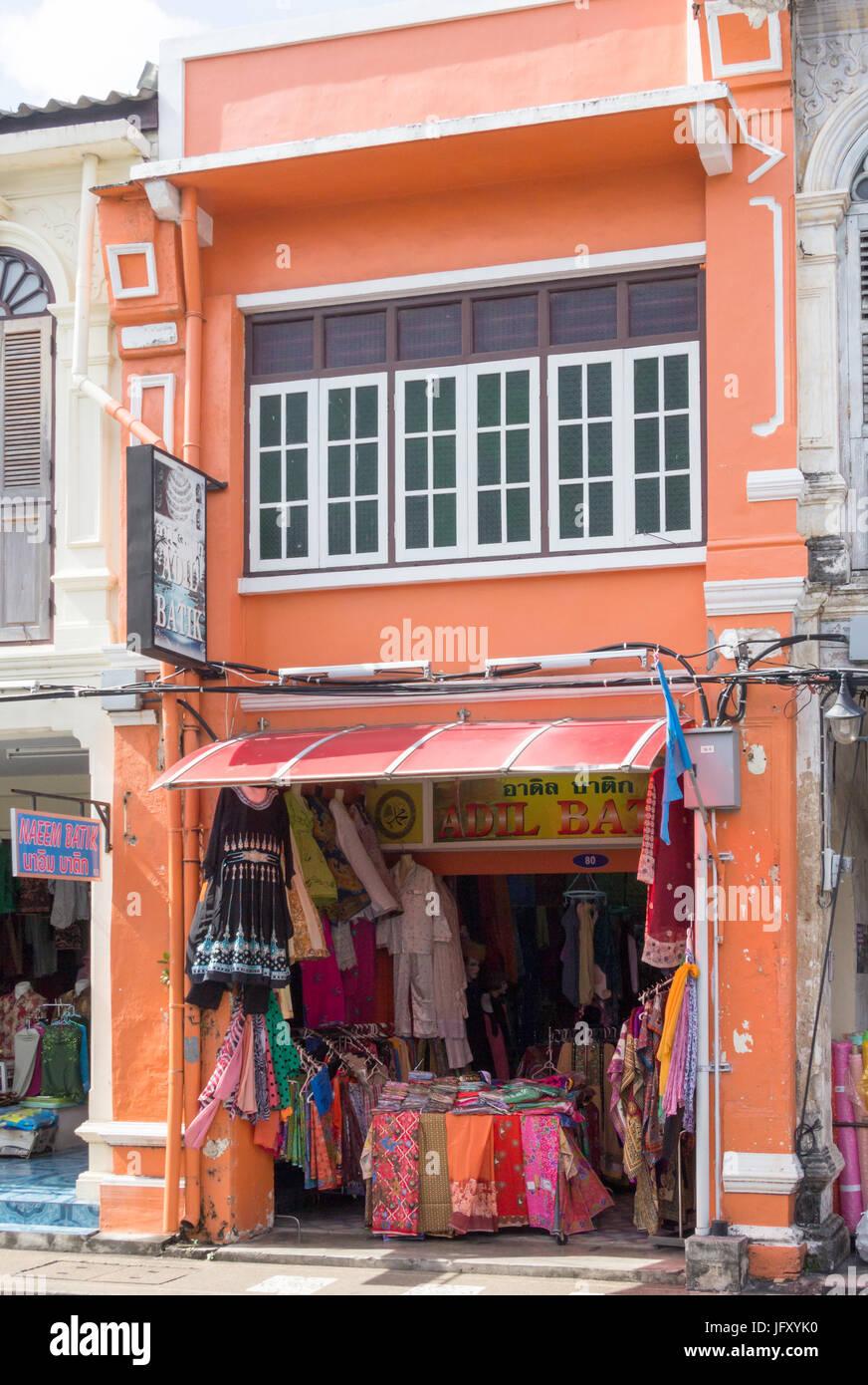 Sino Portuguese architecture shophouse selling Batik on Thalang Road, Phuket Town, Thailand - Stock Image