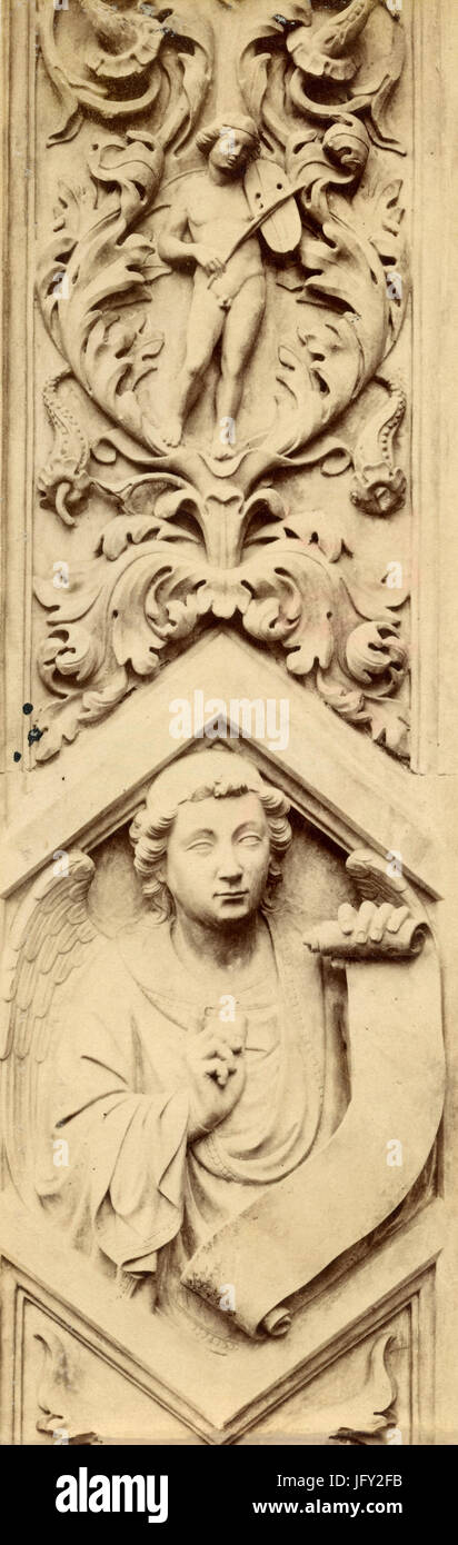 Detail of the Door of the Almonds, marble sculpture by Donatello, Florence, Italy Stock Photo