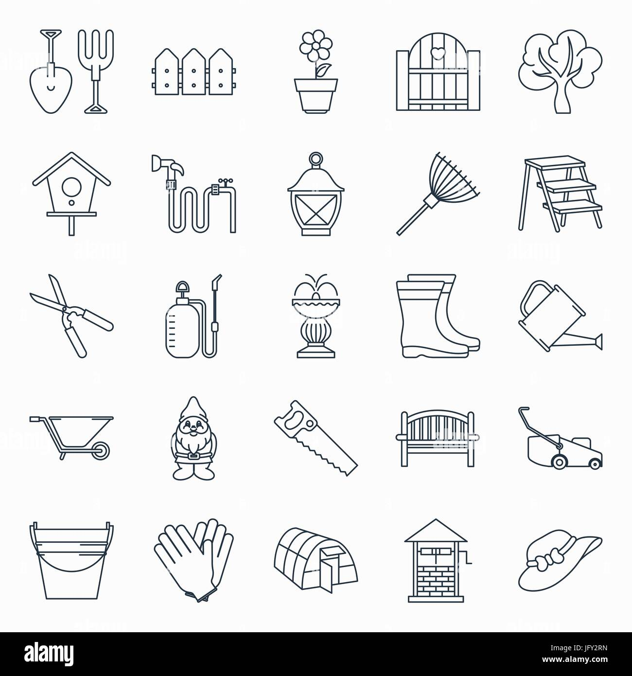 Collection of outline gardening icons Stock Vector