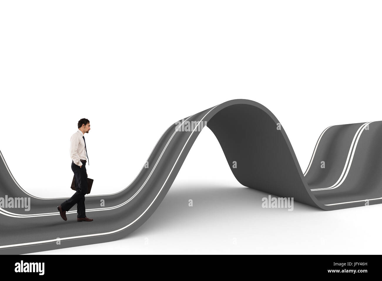 Businessman ready to start on a complicated road. Concept of challenge - Stock Image