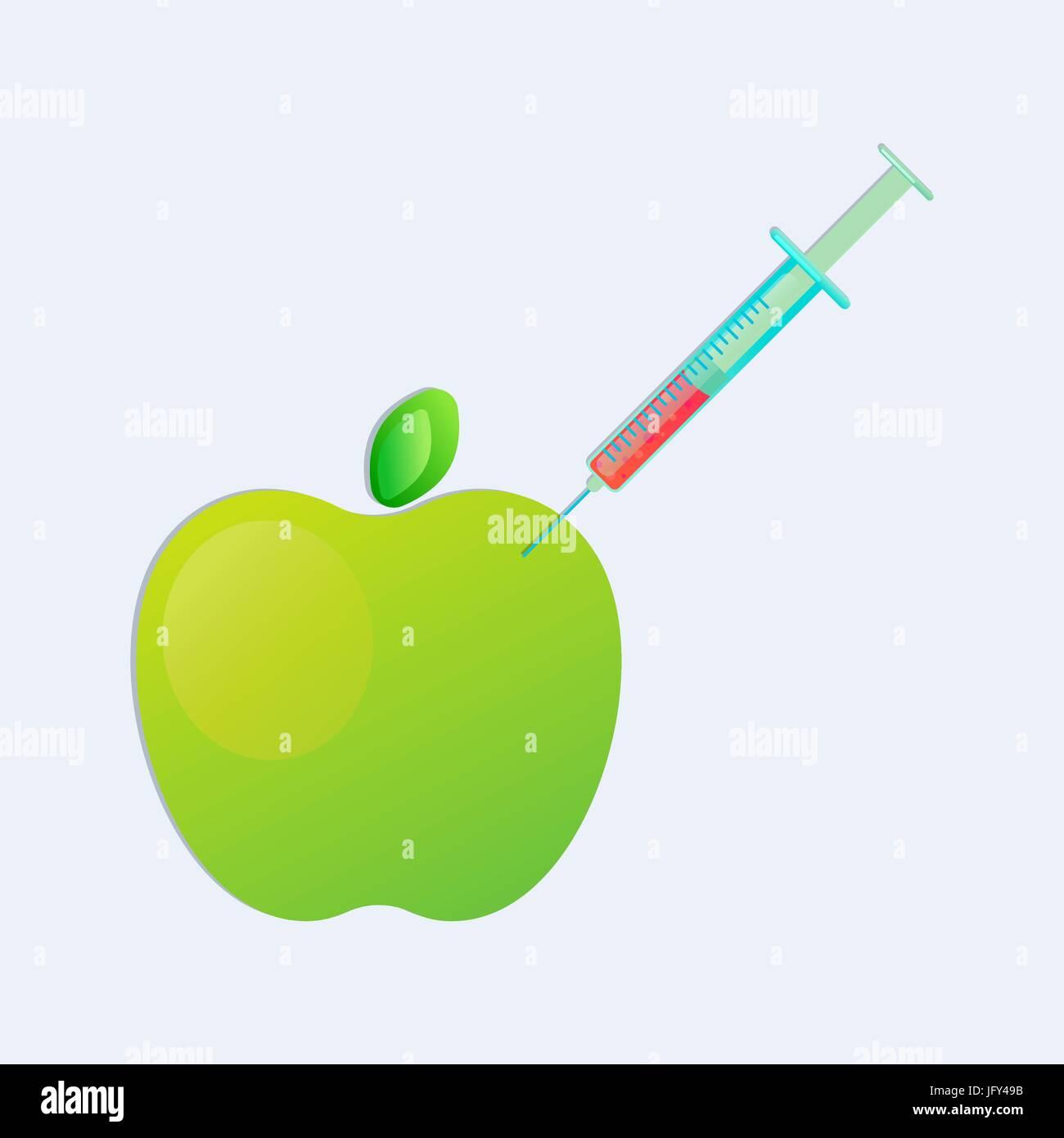 gmo  apple with syringe