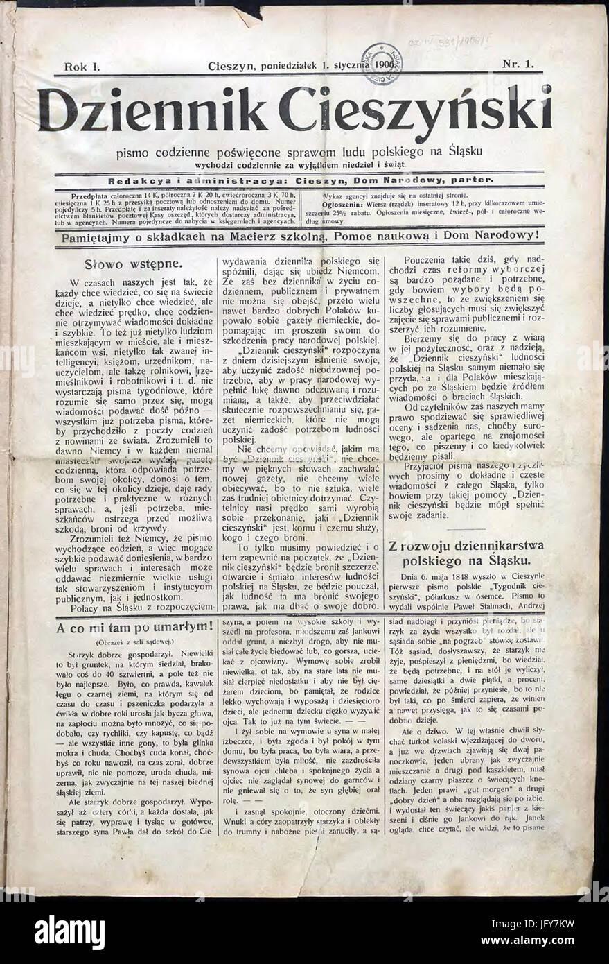Dziennik Cieszyński 01 01 1906 Stock Photo 147501533 Alamy