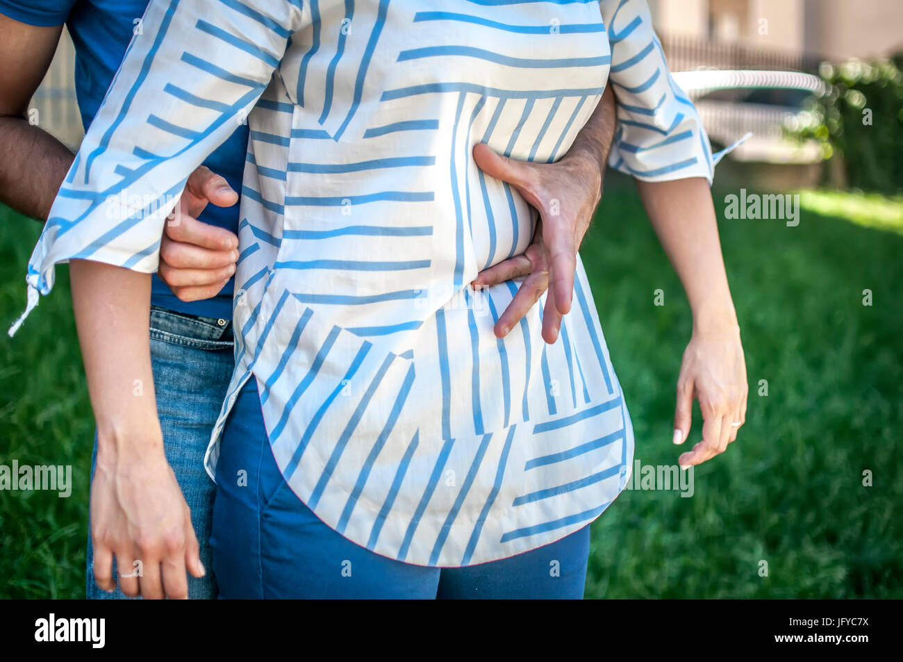 step for the heimlich maneuver procedure - Stock Image