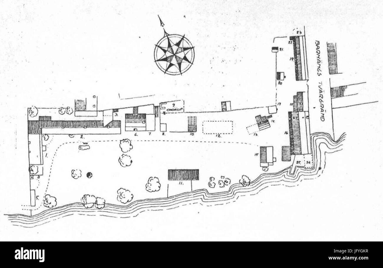 Färgargården vid Hammarby sjö, 1917 - Stock Image