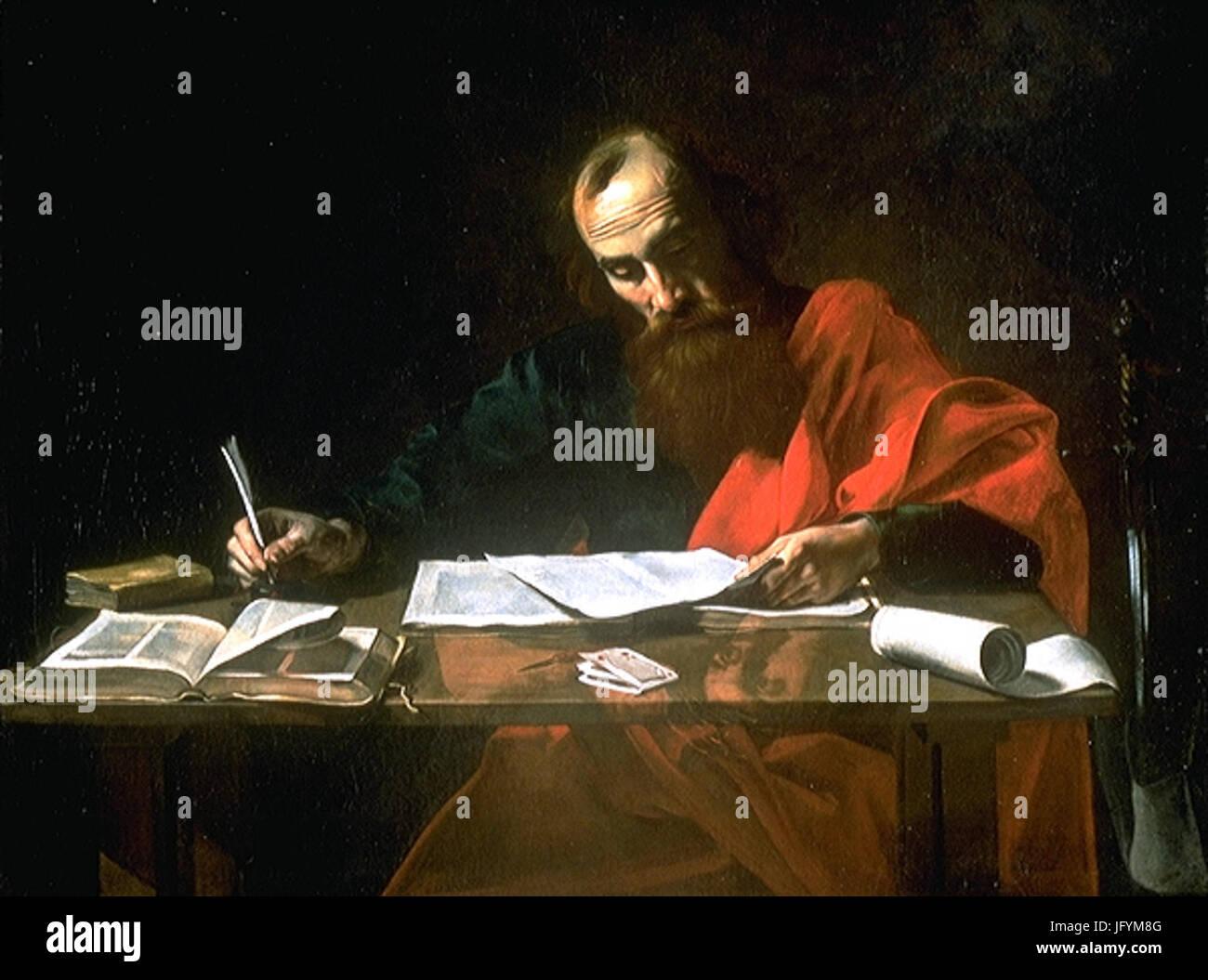File -Saint Paul Writing His Epistles  by Valentin de Boulogne - Stock Image