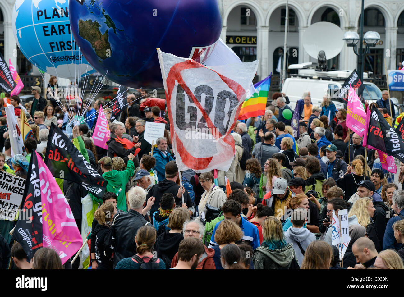 Hamburg, Germany. 02nd July, 2017. protest rally against G-20 summit in july 2017 / DEUTSCHLAND, Hamburg, Protest - Stock Image