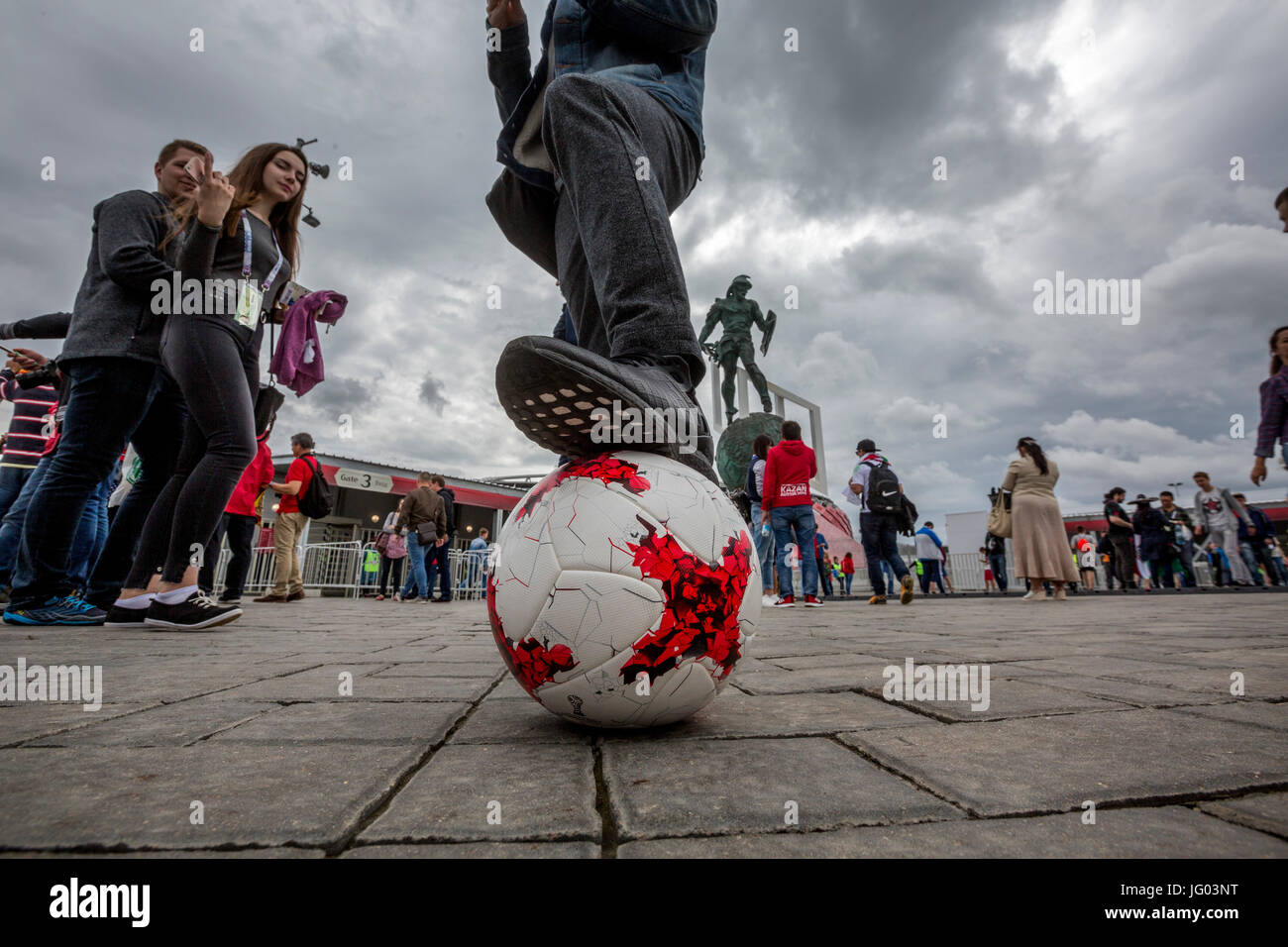 Moscow, Russia, 2nd of July, 2017. Football fans before the 2017 FIFA Confederations Cup third place football match - Stock Image