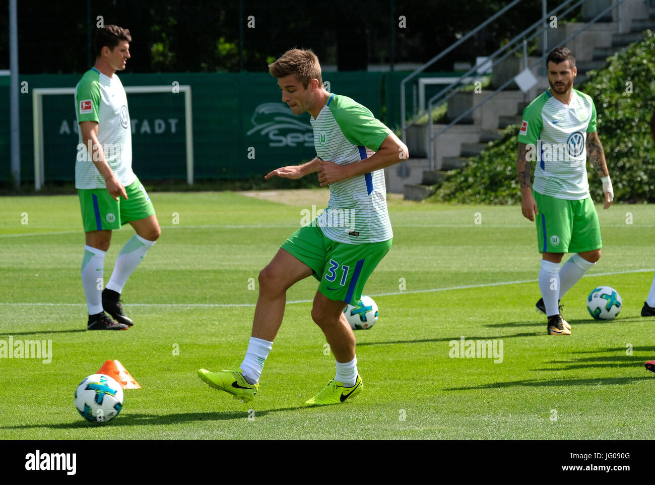 Wolfsburg, Germany. 3rd July, 2017. Wolfsburg's player Robin Knoche plays the ball during a training session - Stock Image