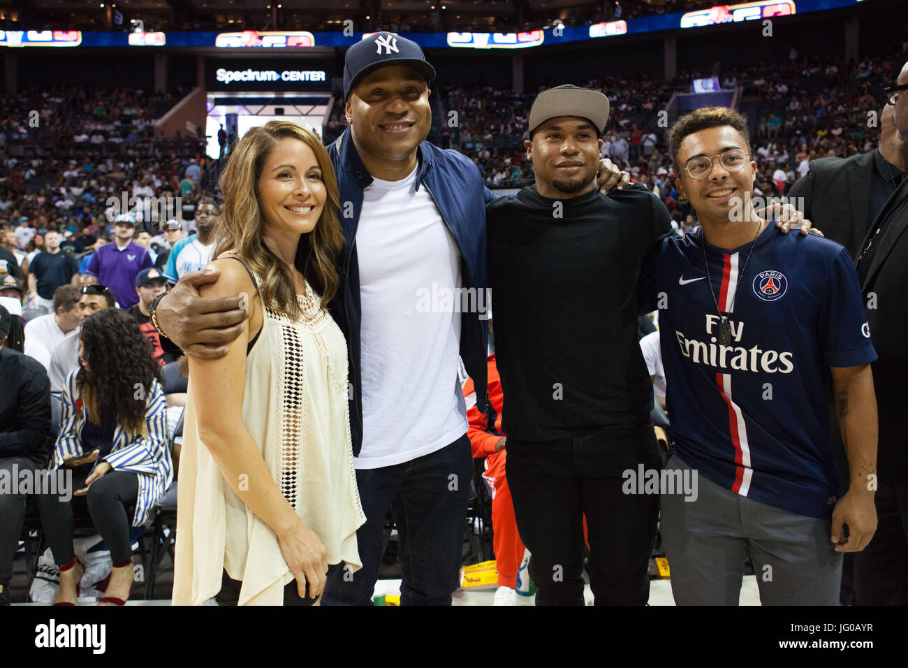 Charlotte,USA. 2nd Jul,2017. LL Cool J Steve Smith during Week 2 BIG3 basketball tournament showcases Charlotte,NC - Stock Image