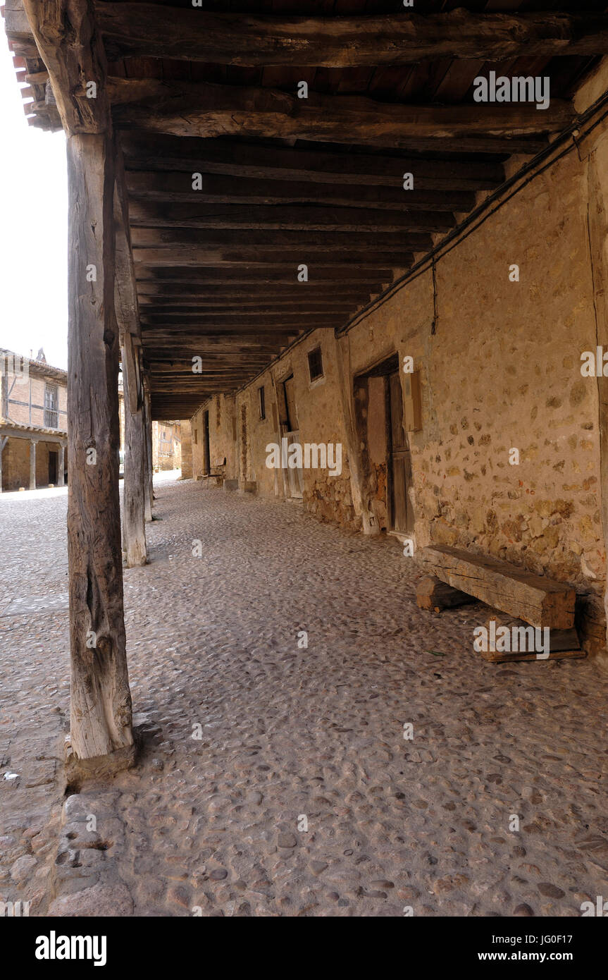 arcades in the medieval village of Calatañazor, Soria province, Casitlla y León, Spain Stock Photo