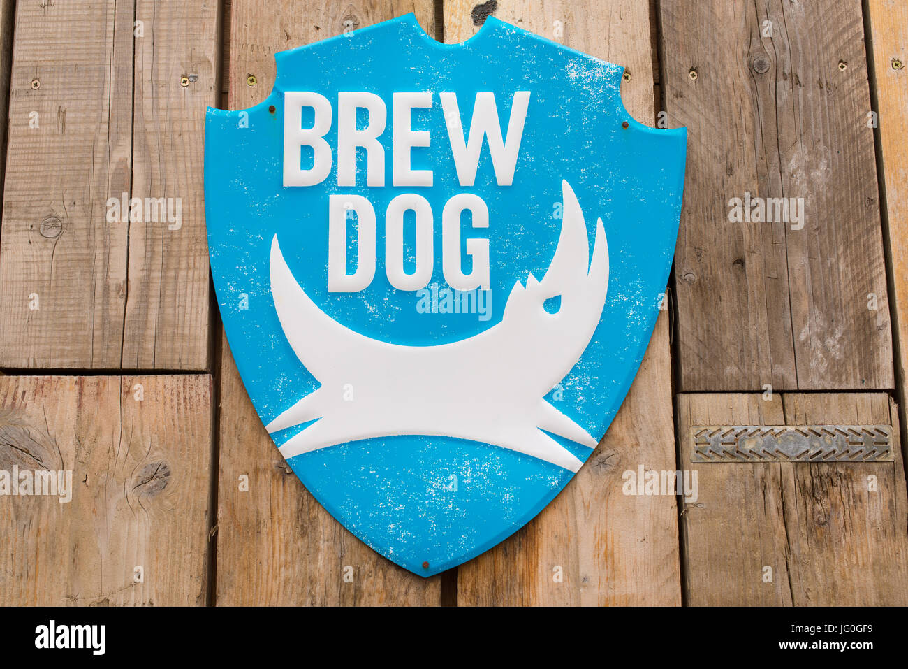 Brew Dog Brewery Logo On A Metal Plate On A Wooden Wall Brewdog Is A Stock Photo Alamy