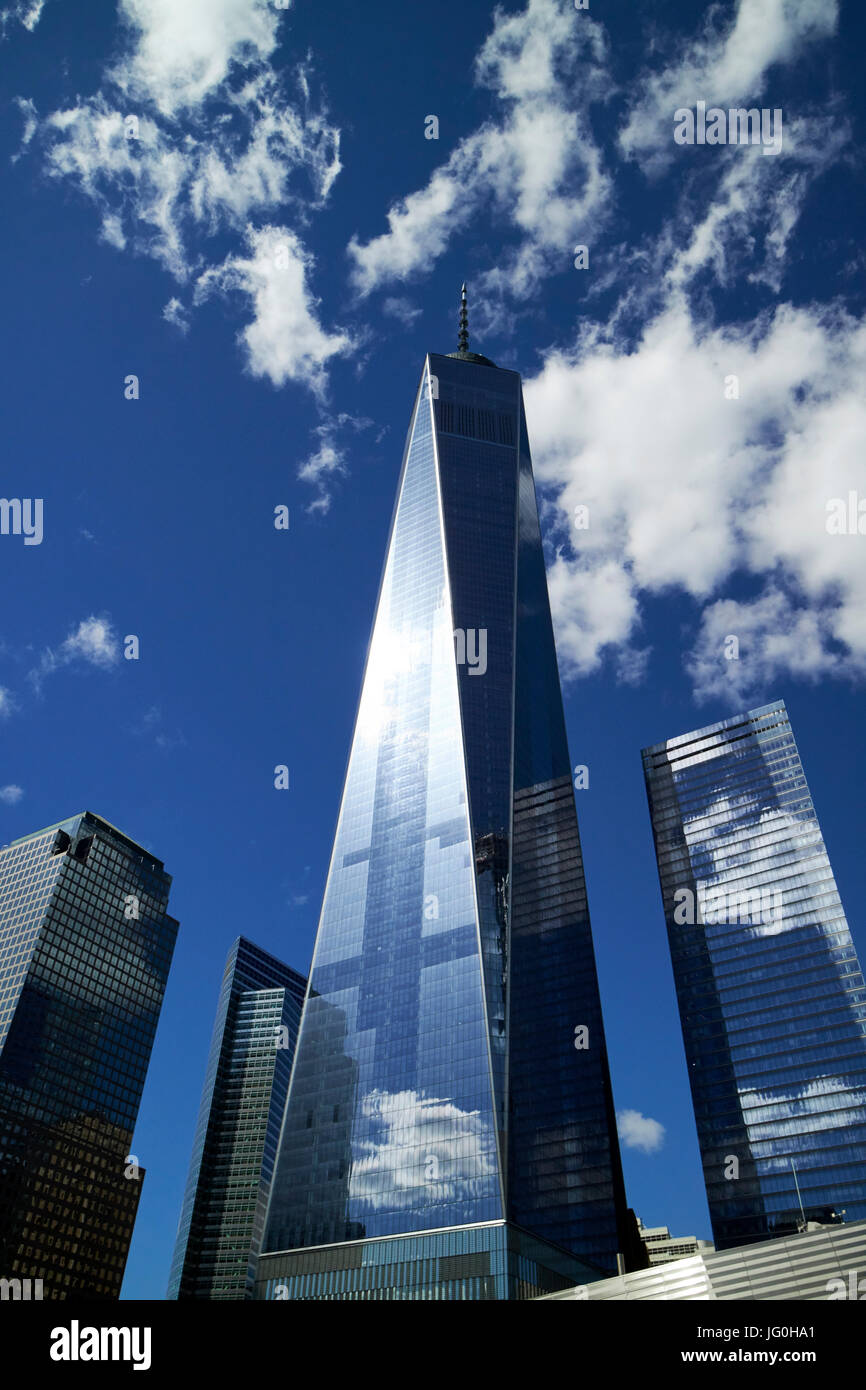 looking up at one world trade center from national september 11th memorial site New York City USA - Stock Image