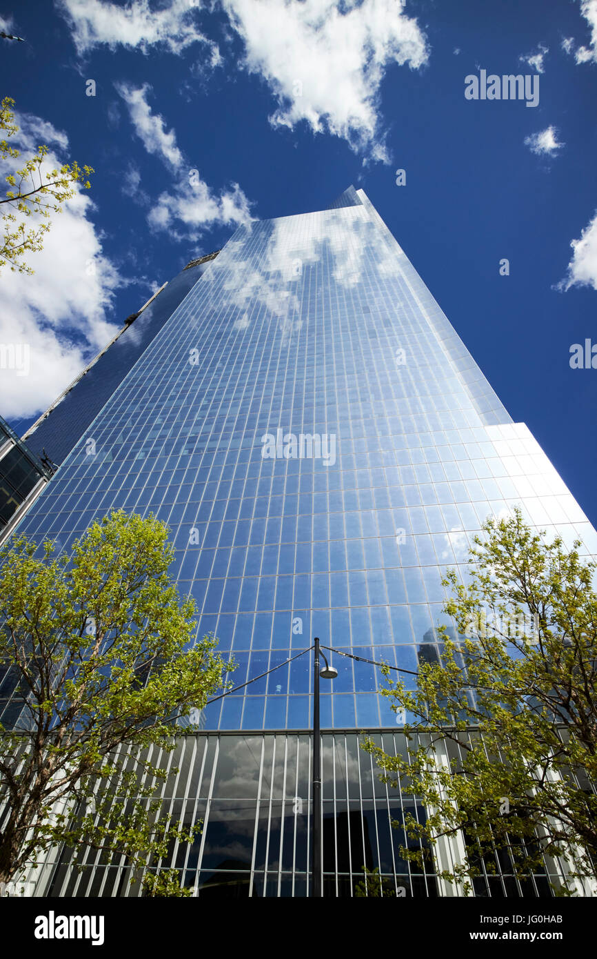 looking up at four world trade center from national september 11th memorial site New York City USA - Stock Image