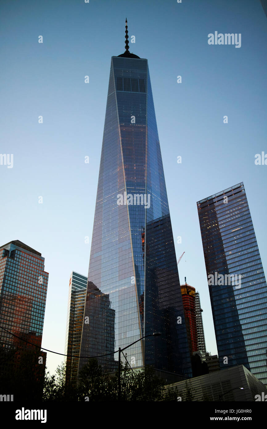 looking up at one world trade center at dusk New York City USA - Stock Image