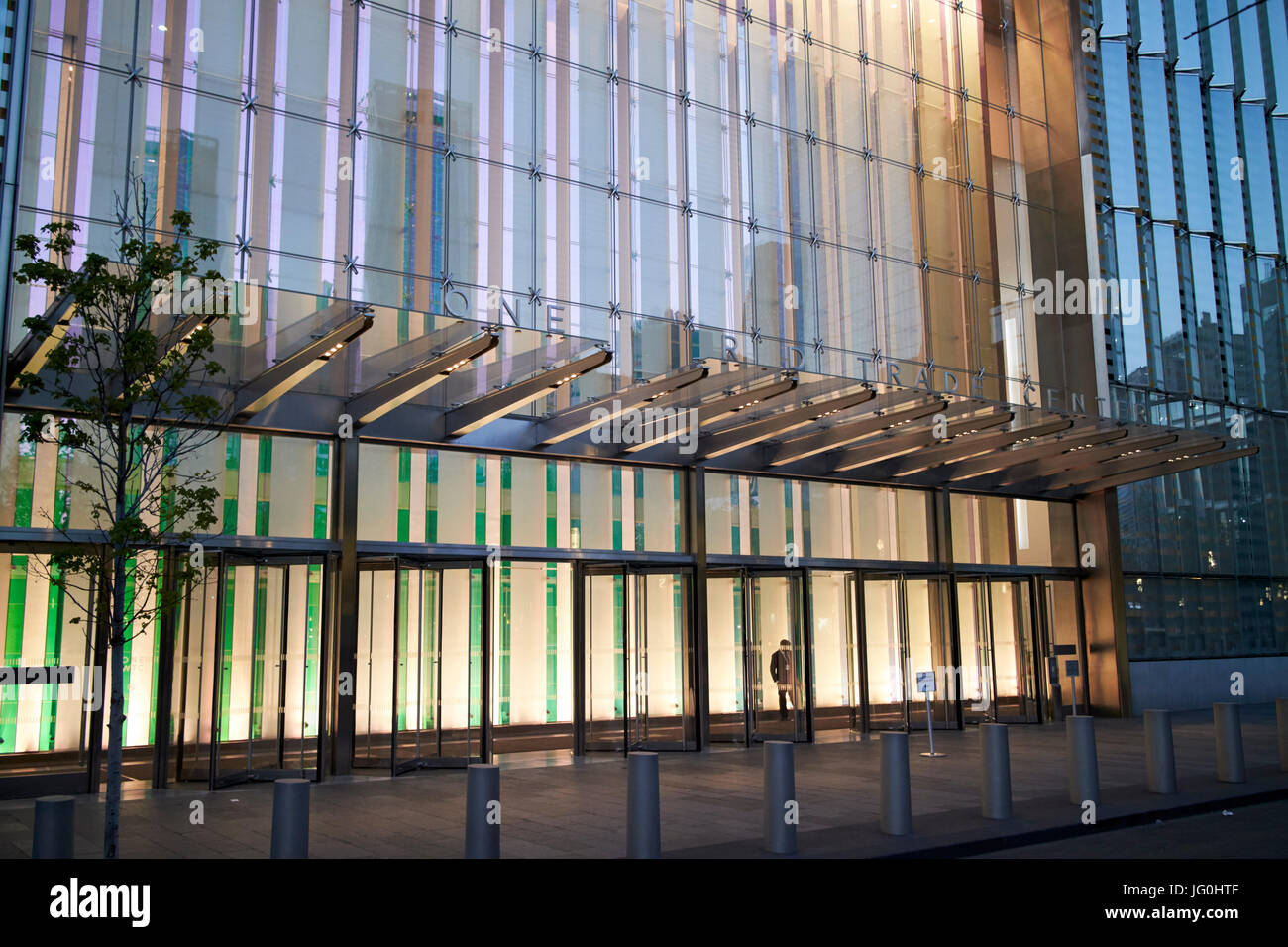 office entrance to one world trade center at night New York City USA - Stock Image