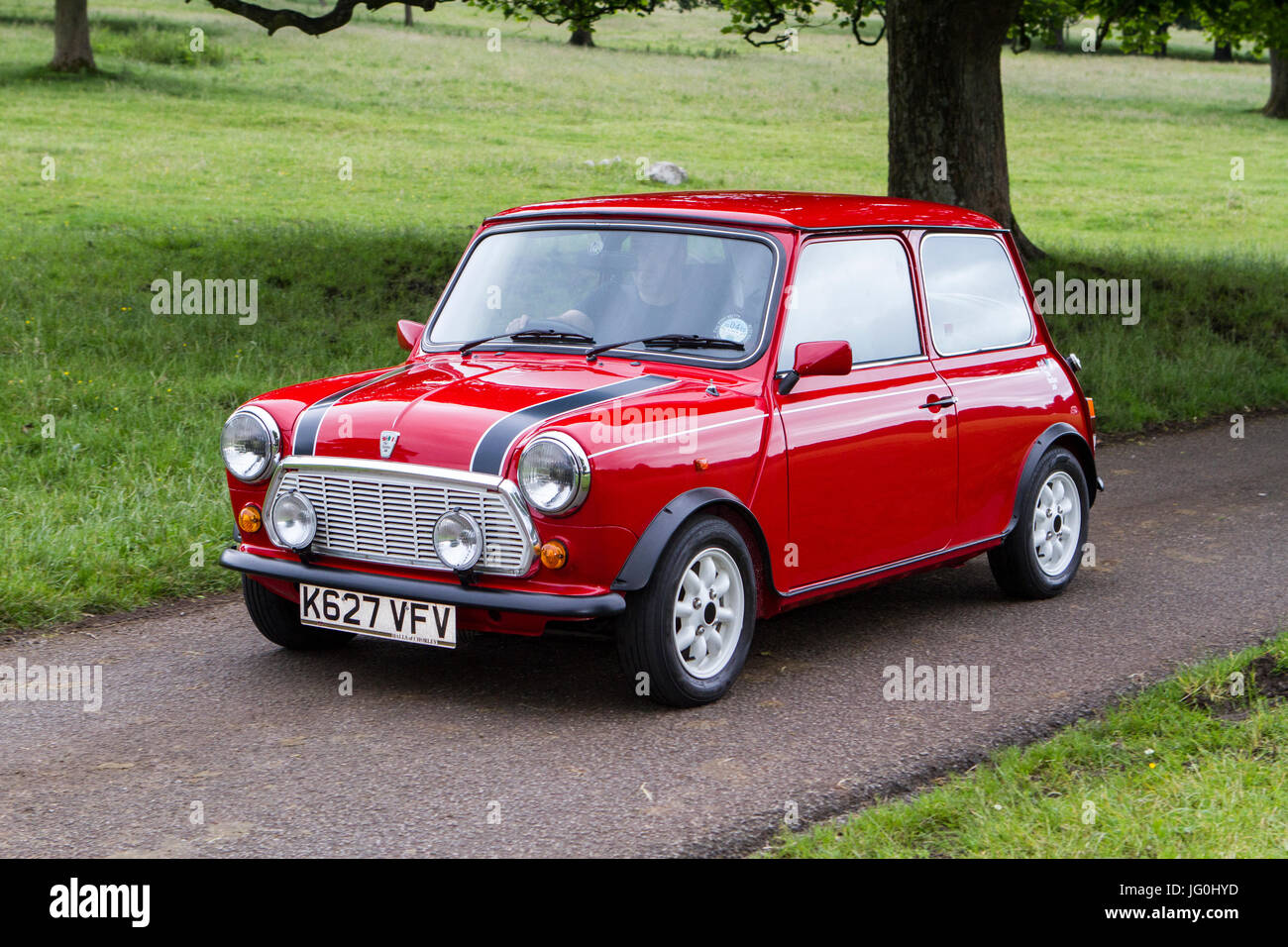 Red Mini at Mark Woodward Classic car Events, one of 12 shows held at different locations across the country, classic Stock Photo