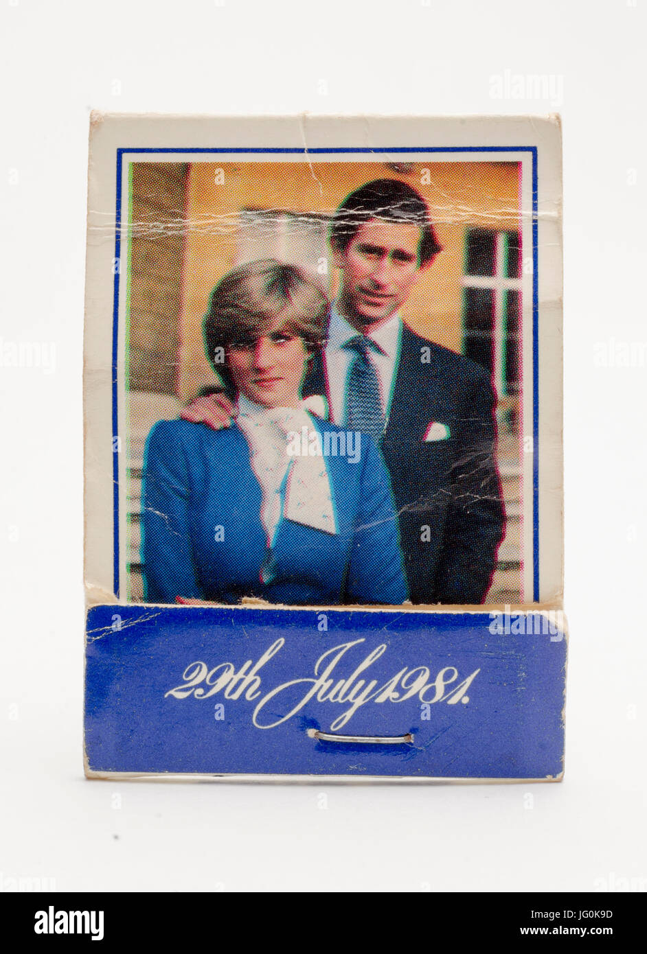 Commemorative Book of Matches celebrating the Royal Wedding of Lady Diana Spencer and HRH Prince Charles on the Stock Photo