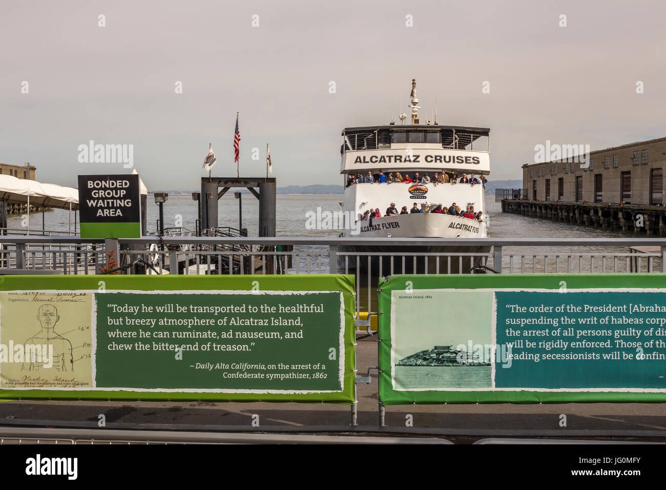 Alcatraz Cruises, Alcatraz ferry, ferry departure, Alcatraz Landing, Pier 33, The Embarcadero, San Francisco, California, - Stock Image
