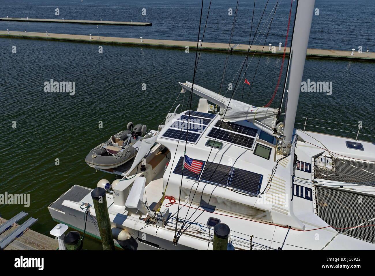 Catamaran at Dockside - Stock Image