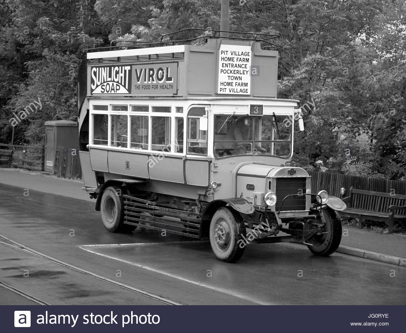 A replica vintage bus in Beamish open air museum in Durham England UK - Stock Image