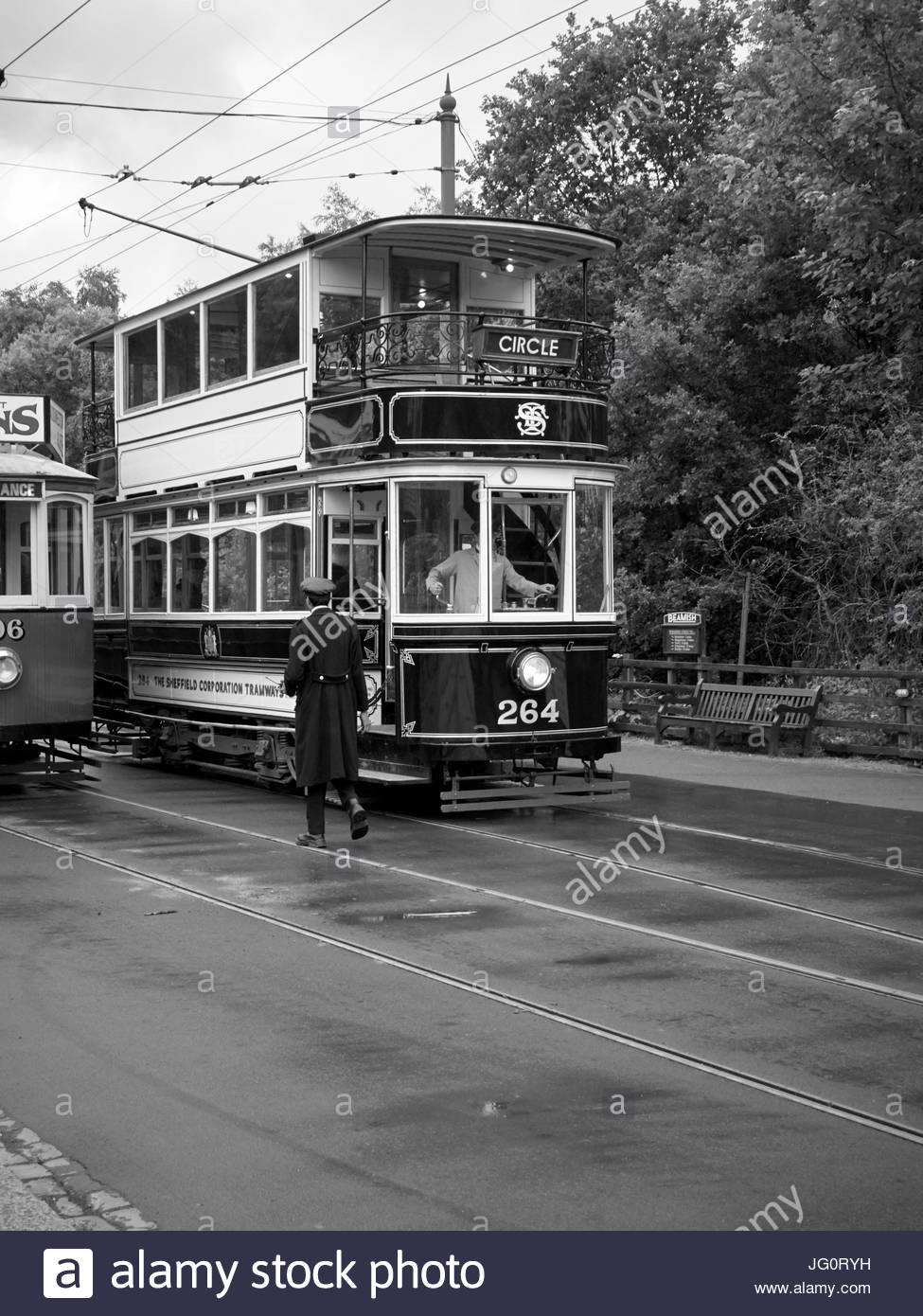 A double deck Sheffield corperation livery number 264 electric tram with overhead power supply in Beamish open air - Stock Image