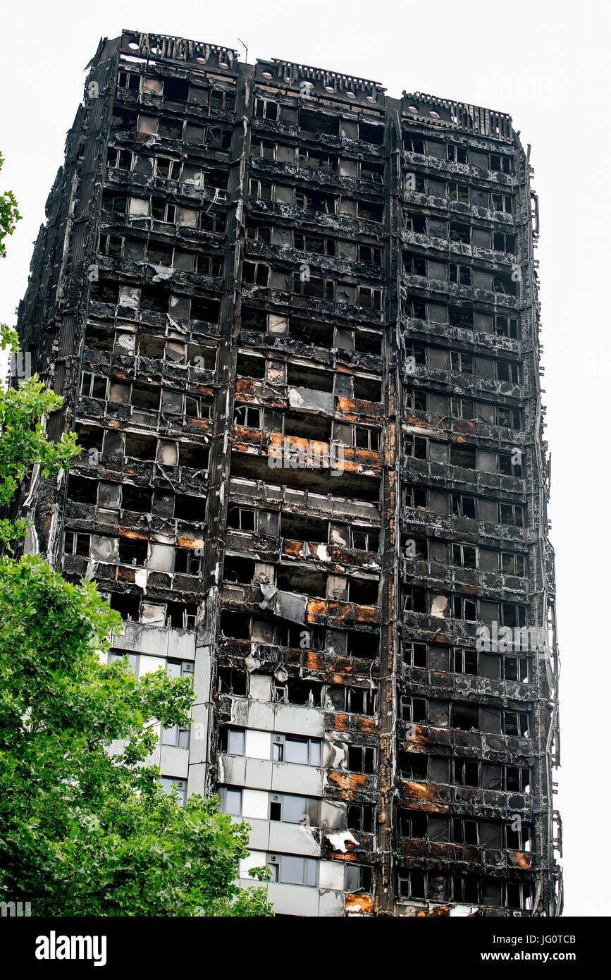 The Grenfell Tower - Fire disaster which ripped through the building leaving hundreds homeless and many dead, now - Stock Image