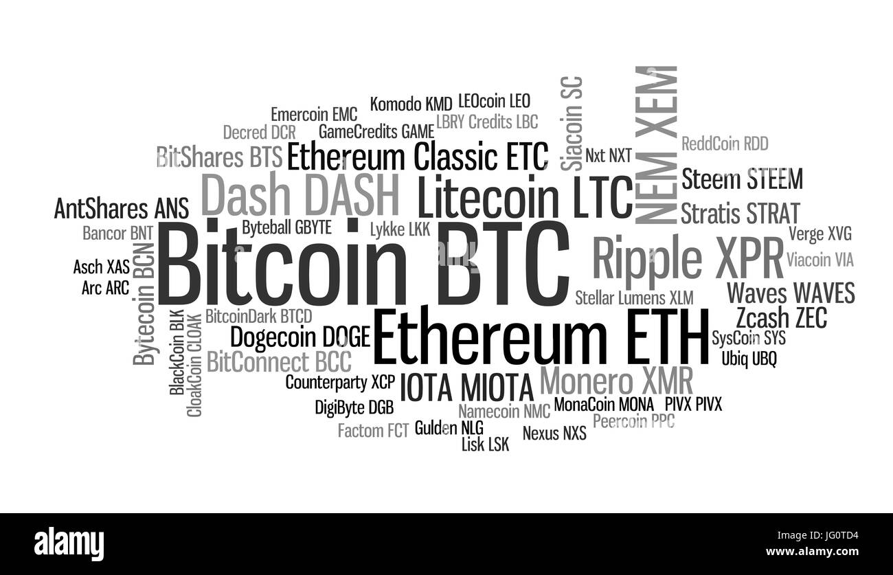 Crypto-currencies with a capitalization of more than $ 100 million. The font size roughly shows the market share - Stock Image