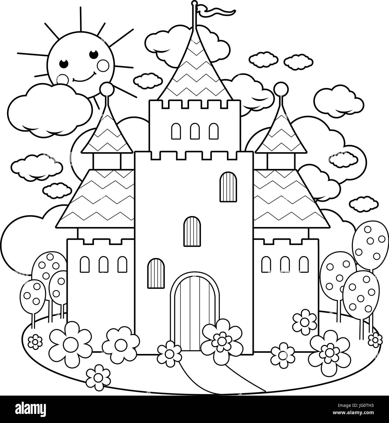 Fairy tale castle and flowers. Coloring page Stock Vector Art ...