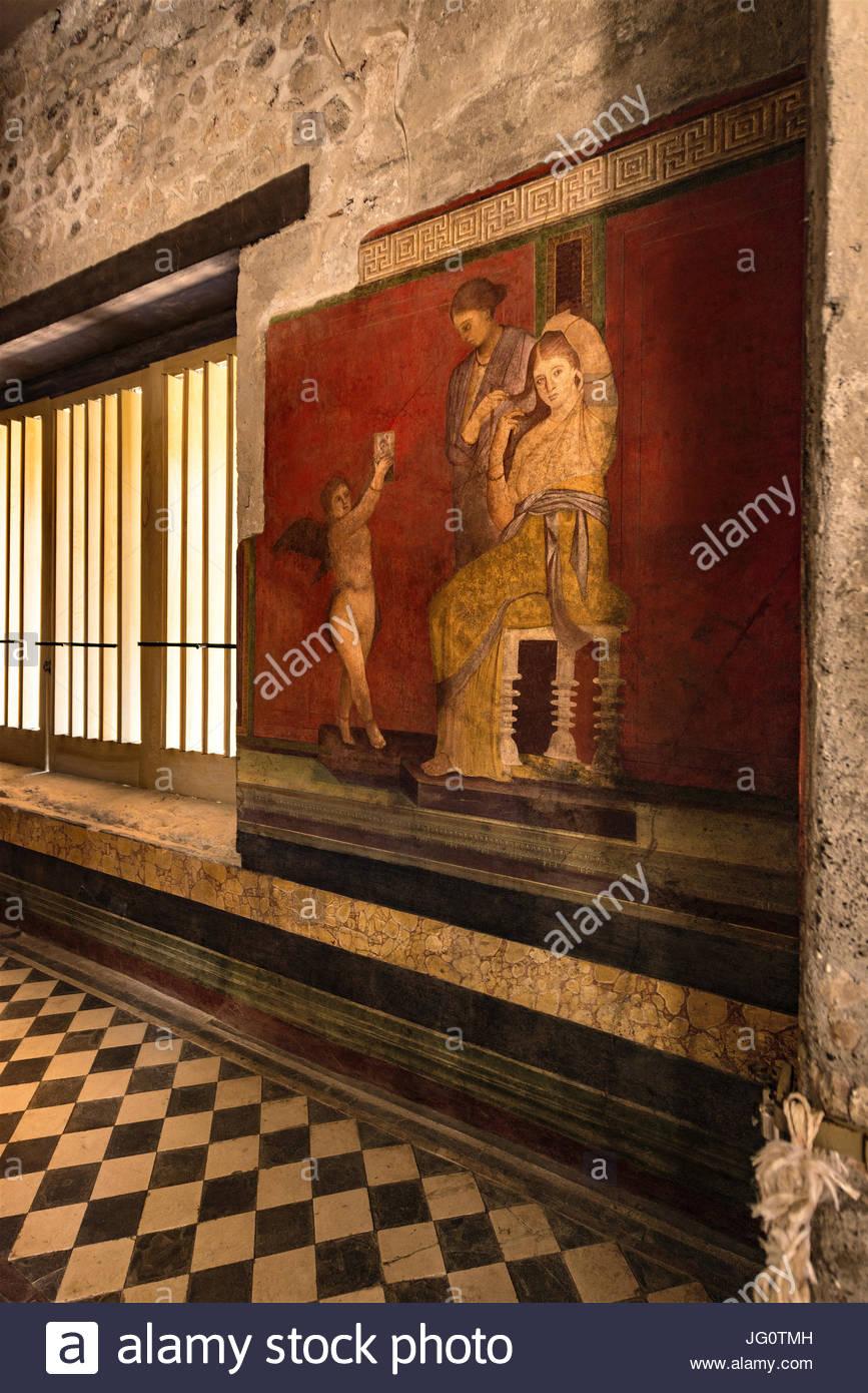 villa of the mysteries, pompeii, italya - Stock Image