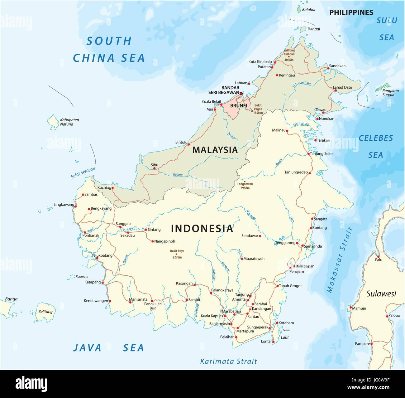 vector road map of island Borneo Kalimantan - Stock Image