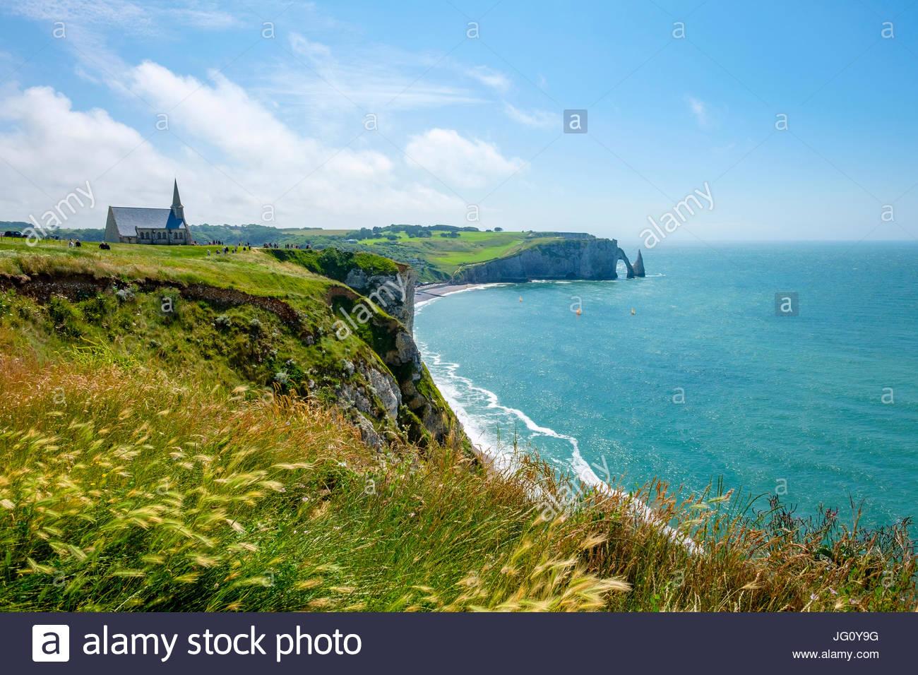France, Normandy (Normandie), Seine-Maritime department, Etretat. Chapelle Notre-Dame de la Garde chapel and white Stock Photo