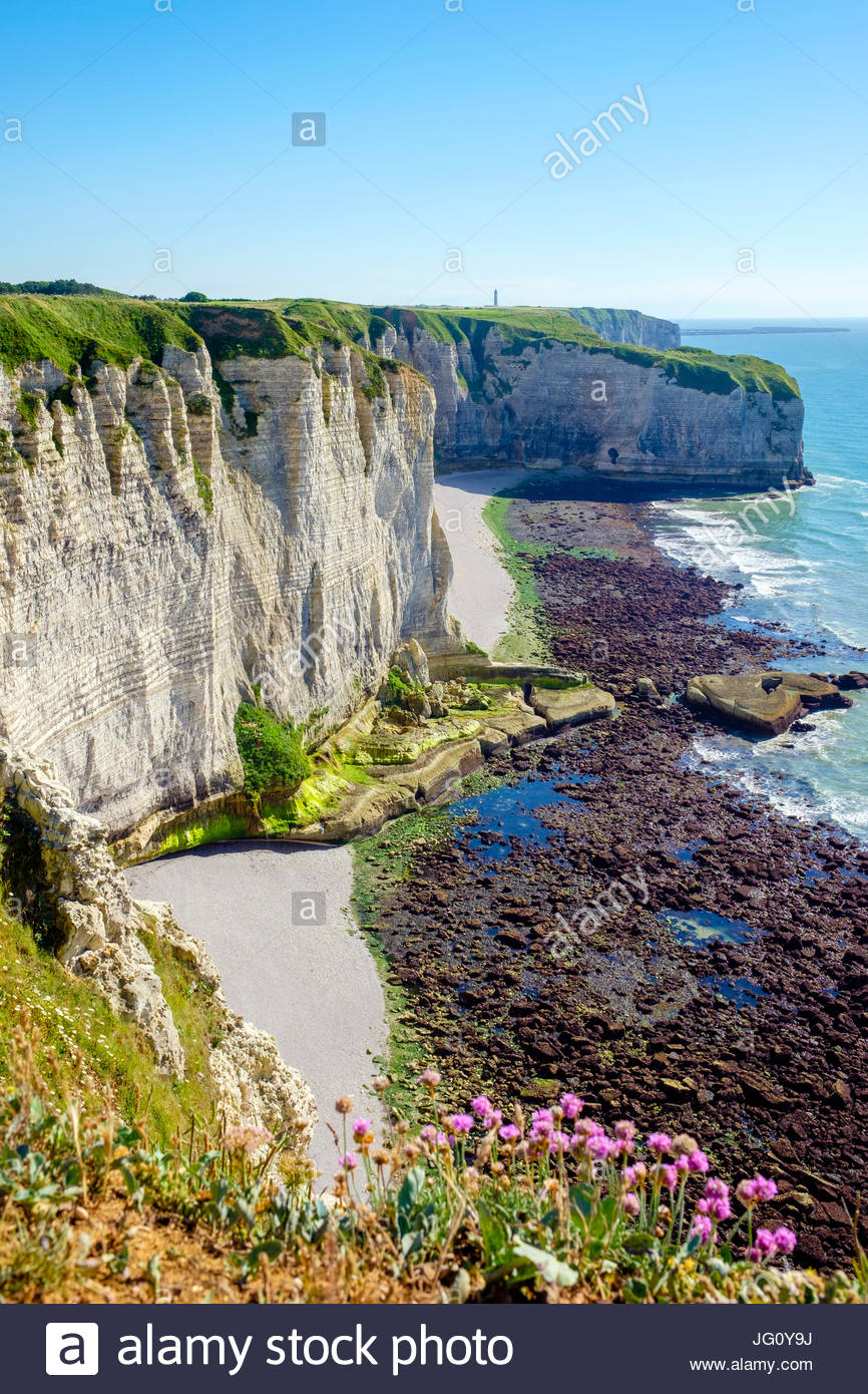 France, Normandy, Seine-Maritime department, Etretat. White chalk cliffs on the coast of the English Channel. - Stock Image