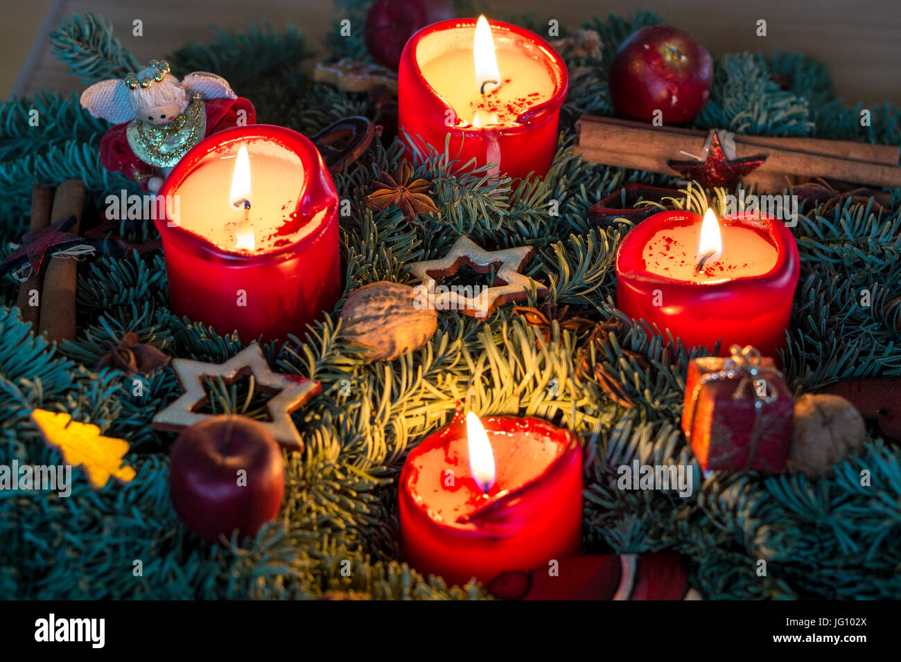 Advent Wreath With Lit Red Candles From Above