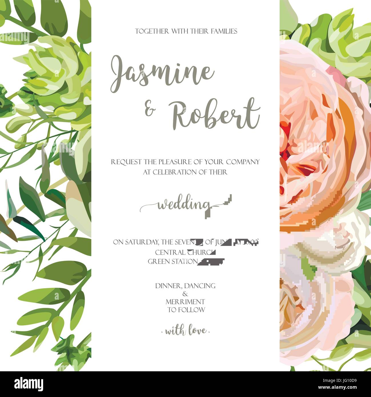 Wedding invitation, floral invite card with pink garden rose, green ...