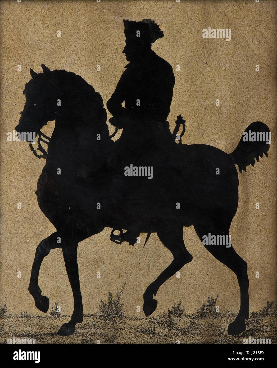 Friedrich der Große zu Pferde Scherenschnitt - Stock Image