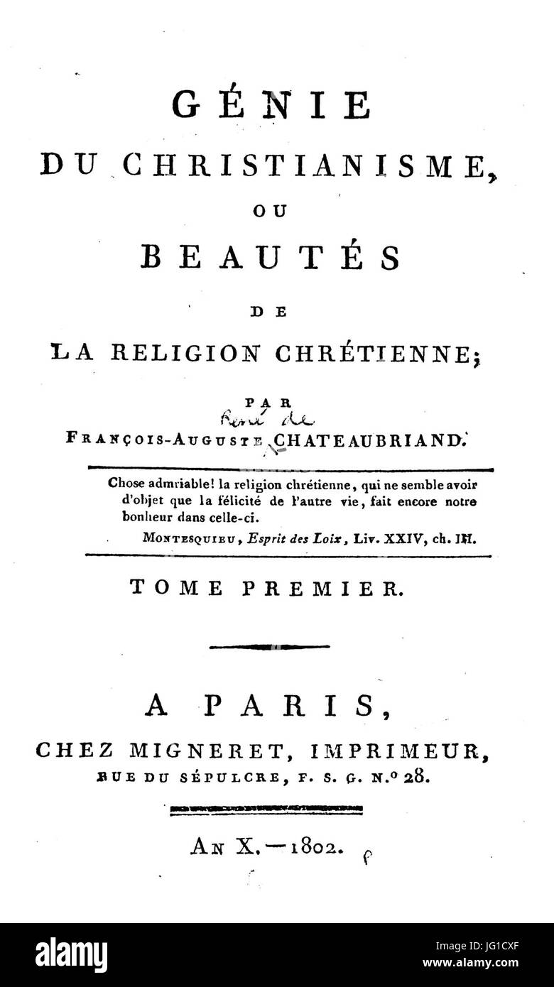 Génie du christianisme, tome 1 (1802) TP - HathiTrust Stock Photo