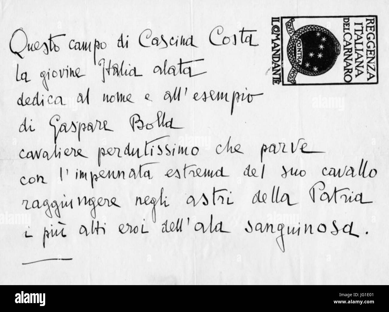 Gabriele D Annunzio epigrafe Gaspare Bolla Stock Photo
