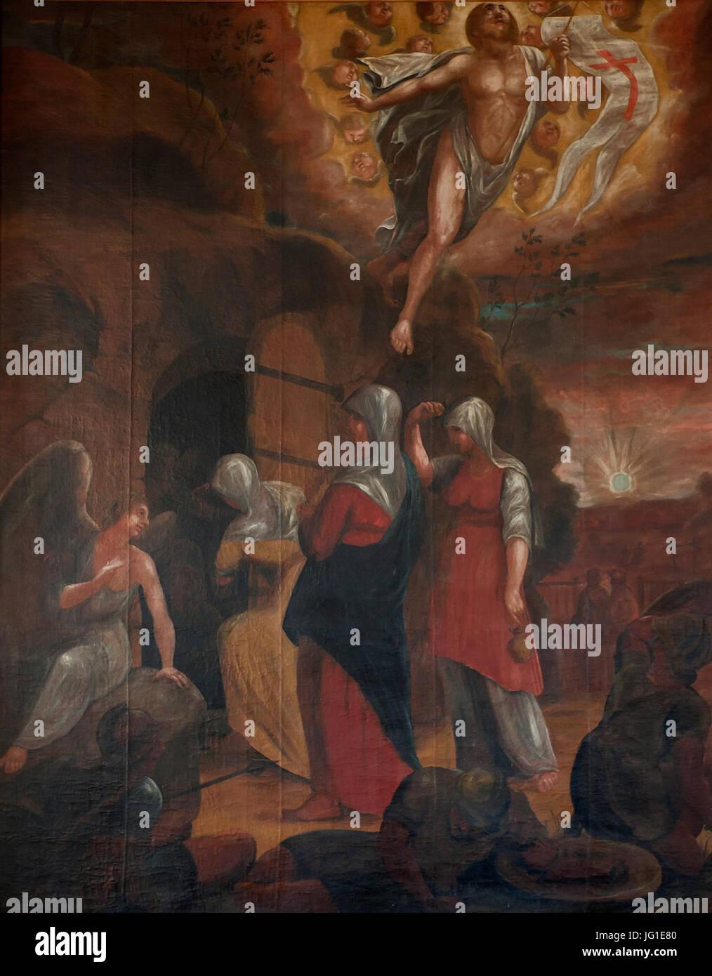 Gammal altartavla i Tjällmo kyrka - Stock Image
