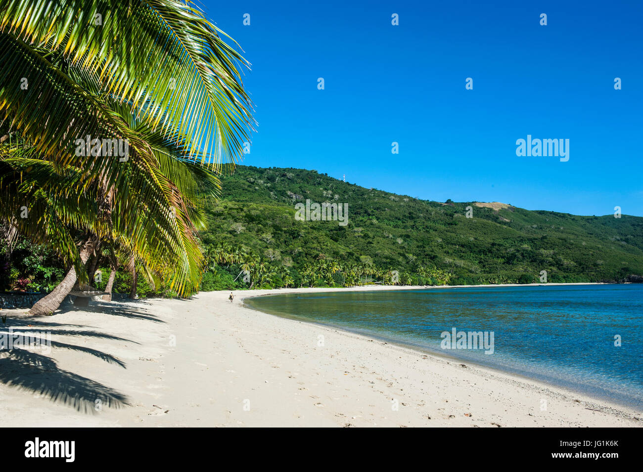 White sandy beach on  Korovou Eco-Tour Resort, Naviti, Yasawas, Fiji, South Pacific - Stock Image