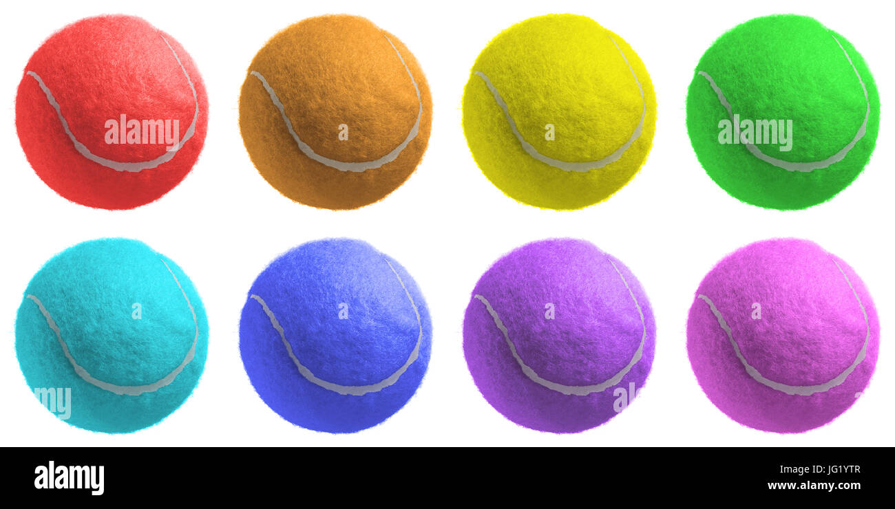 Different Color Tennis Ball Isolated On White Stock Photo 147561255