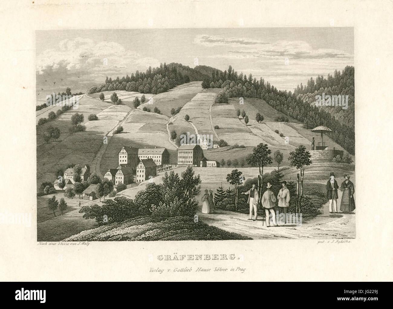 Gräfenberg Stahlstich c1839 - Stock Image
