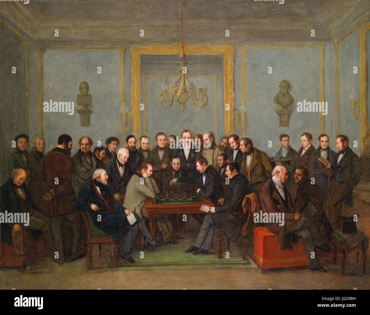 Jean Henri Marlet Das berühmte Schachspiel zwischen Howard Staunton und Pierre Charles Fourrier Saint-Amant 1843 Stock Photo